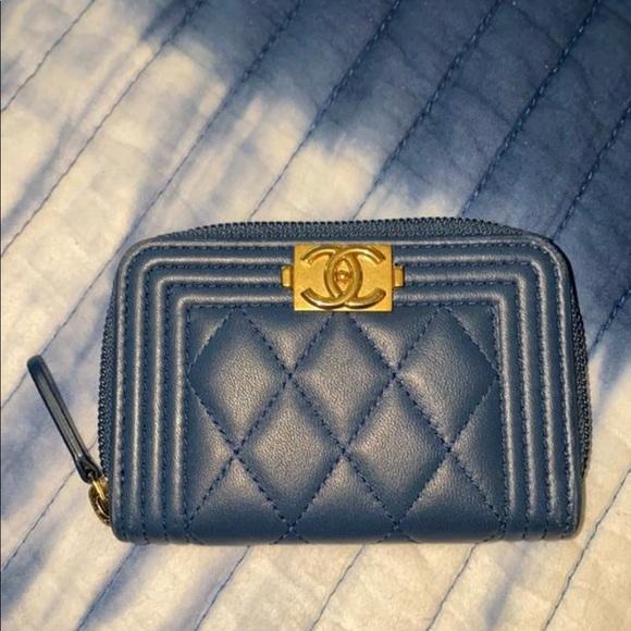 CHANEL Handbags - Dark Blue BoyQuilted Card Wallet